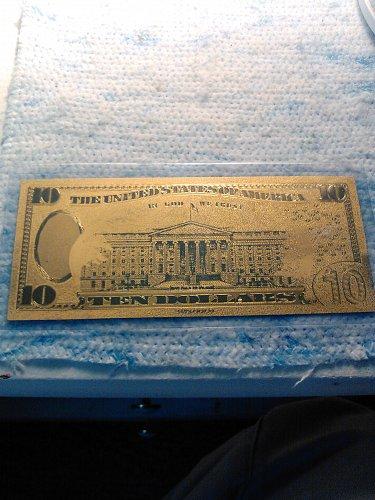 24K GOLD FOIL US 10 DOLLAR BILL