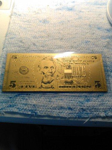 24K GOLD FOIL US 5 DOLLAR BILL