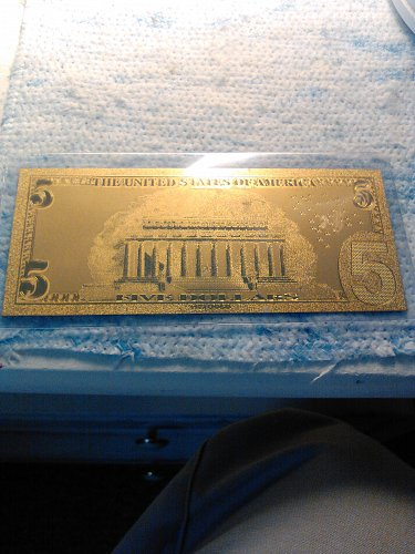 24K GOLD FOIL US 5 DOLLAR BILL