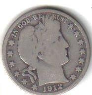 1912 S   BARBER HALF DOLLAR