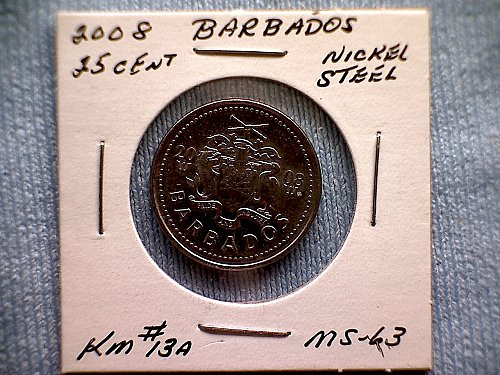 2008 BARBADOS TWENTY-FIVE CENTS
