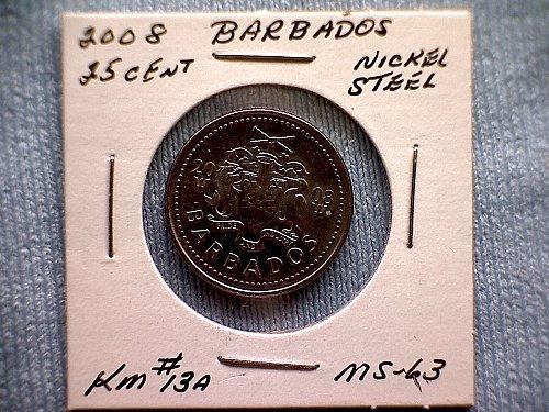 2008 BARBADOS TWENTY-FIVE CENTS