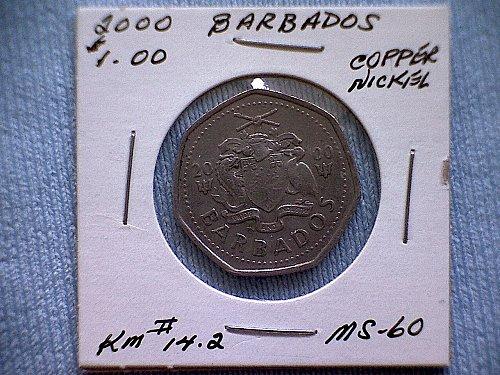 2000 BARBADOS ONE DOLLAR COIN
