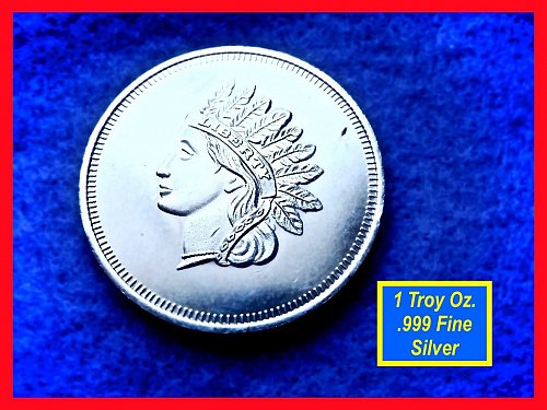 Indian Head Design •• 1 Oz Silver Round   •••  (#9104)