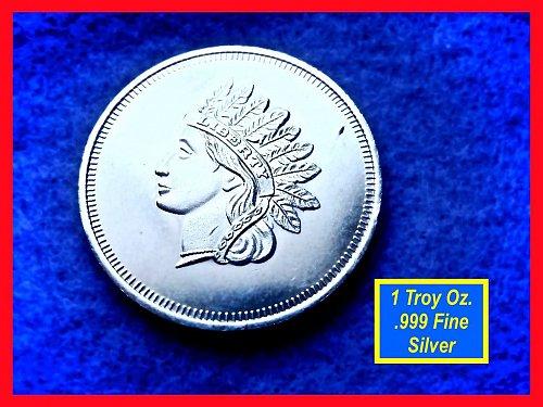 Indian Head Design •• 1 Oz Silver Round   •••  (#9104)