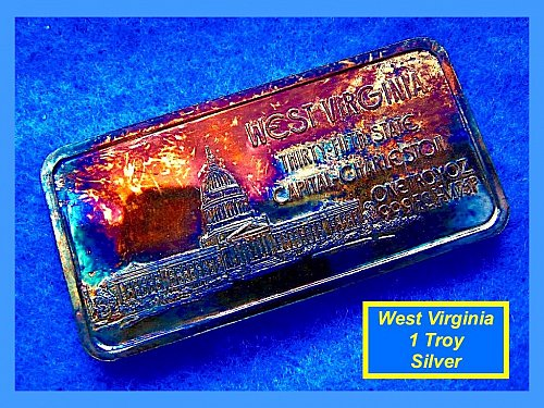West Virginia 35th State • • •  1 Oz Silver Art Bar (June 20, 1863)  •