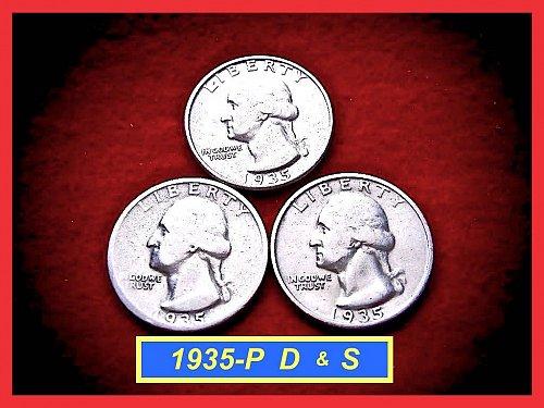 1935-PDS  3–COIN SET •••••  Washington Quarters     (#2273)