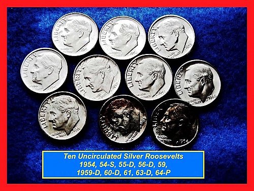 1954-1964 – LOT of 10 FDR Silver Dimes  – 10 Different DATES   (#3170)