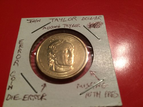 2009 John Tyler presidential coin error missing lettering