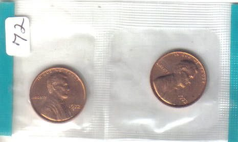 1972 P and S  LINCOLN CENT'S