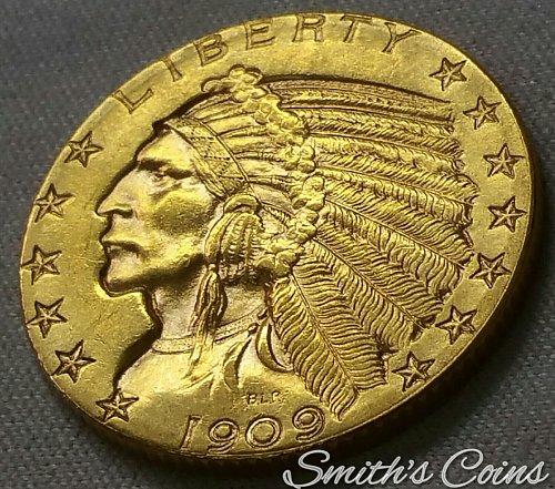 1909 D $5 Gold Indian Head ~ AU 58