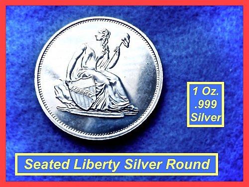 1 Oz Silver Round ☆☆☆ SEATED LIBERTY Design  ☆☆ (9105)•