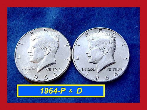 "☆1964-P & D  JFK 2-COIN Year Set ••••  ""AU"" Condition ••  (#1623)"