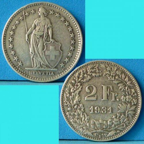 Switzerland Swiss Suisse 2 Francs 1931 km 21 Silver Argent Silber