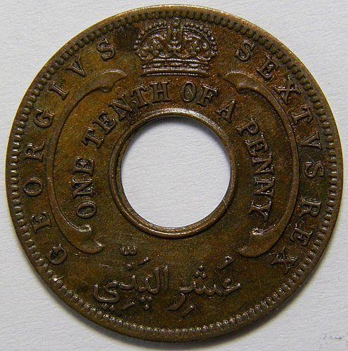 1952 British West Africa#1 1/10 Penny 1 Year Type Copper