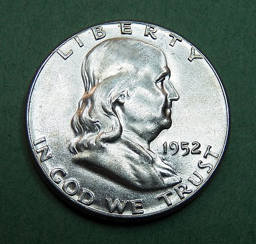 1952 P Franklin Half Dollar Brilliant Uncirculated Coin   f56