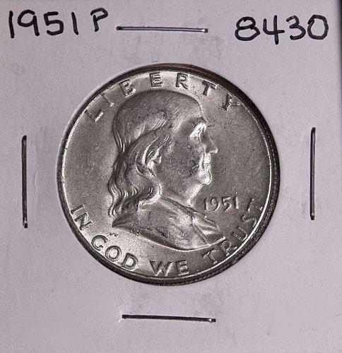 1951 P FRANKLIN SILVER HALF DOLLAR 8430 AU