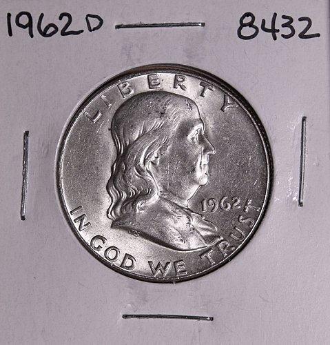 1962 D FRANKLIN SILVER HALF DOLLAR 8421 AU +