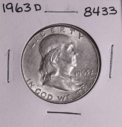 1963 D FRANKLIN SILVER HALF DOLLAR 8433 AU +