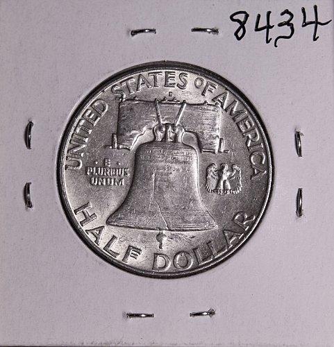 1963 D FRANKLIN SILVER HALF DOLLAR 8434 AU