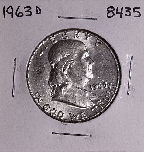 1963 D FRANKLIN SILVER HALF DOLLAR 8435 MS-BU