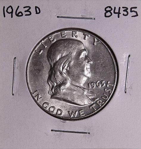 1963 D FRANKLIN SILVER HALF DOLLAR 8435 MS-BU