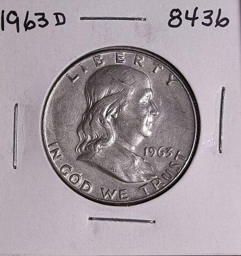 1963 D FRANKLIN SILVER HALF DOLLAR 8436 AU+