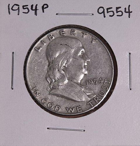 1954 P FRANKLIN SILVER HALF DOLLAR 9554