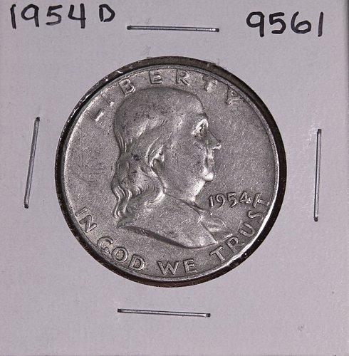 1954 D FRANKLIN SILVER HALF DOLLAR 9561