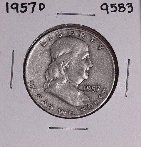 1957 D FRANKLIN SILVER HALF DOLLAR 9583