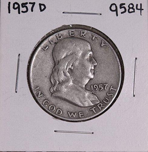 1957 D FRANKLIN SILVER HALF DOLLAR 9584