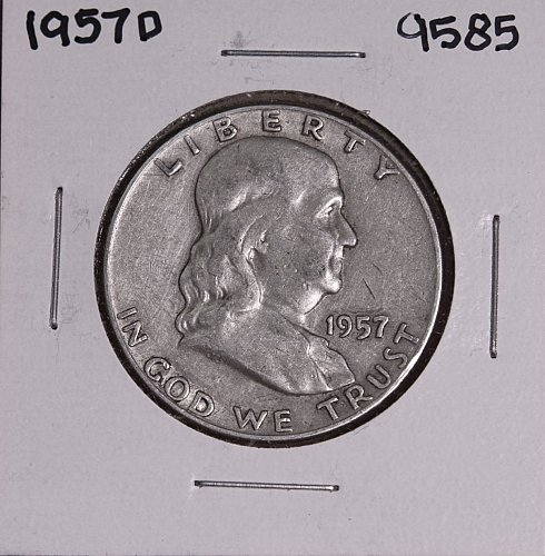 1957 D FRANKLIN SILVER HALF DOLLAR 9585