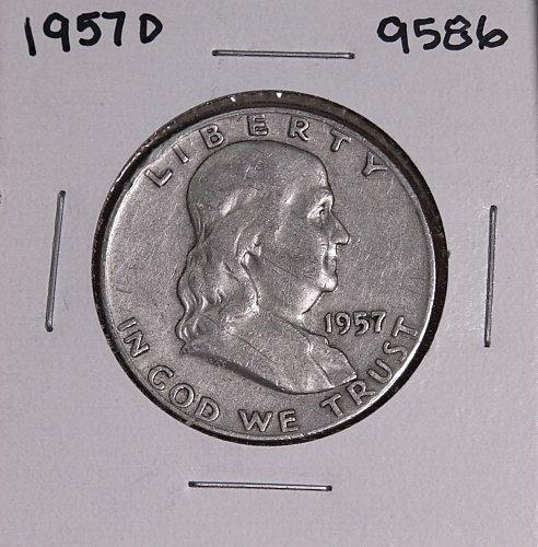 1957 D FRANKLIN SILVER HALF DOLLAR 9586