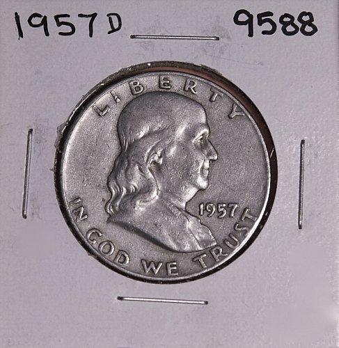 1957 D FRANKLIN SILVER HALF DOLLAR 9588