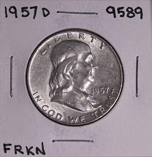 1957 D FRANKLIN SILVER HALF DOLLAR 9589