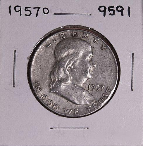 1957 D FRANKLIN SILVER HALF DOLLAR 9591
