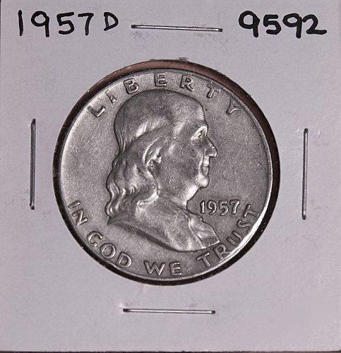 1957 D FRANKLIN SILVER HALF DOLLAR 9592