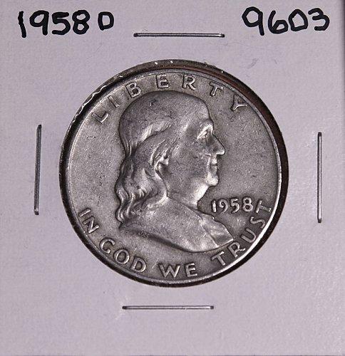 1958 D FRANKLIN SILVER HALF DOLLAR 9603