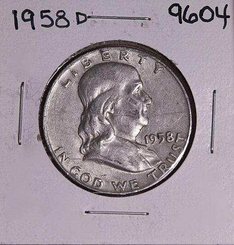 1958 D FRANKLIN SILVER HALF DOLLAR 9604