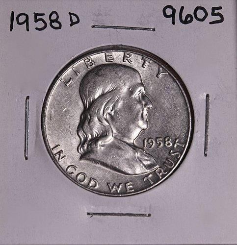 1958 D FRANKLIN SILVER HALF DOLLAR 9605