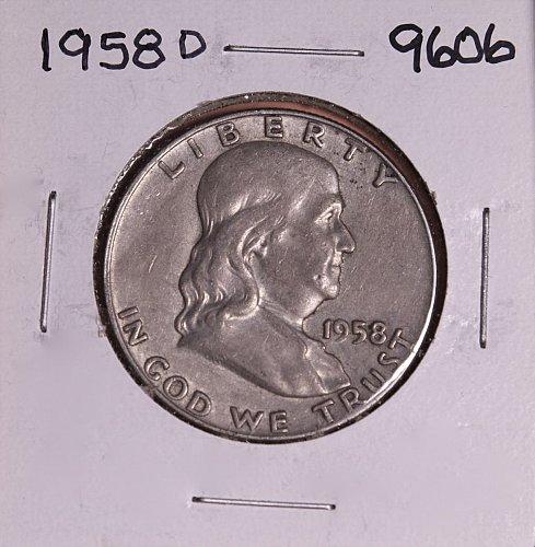 1958 D FRANKLIN SILVER HALF DOLLAR 9606