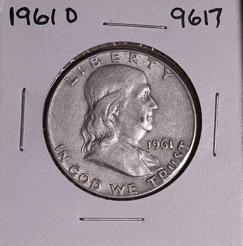 1961 D FRANKLIN SILVER HALF DOLLAR 9617