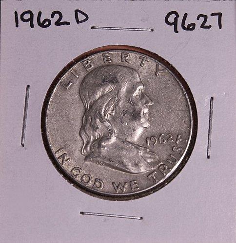 1962 D FRANKLIN SILVER HALF DOLLAR 9627
