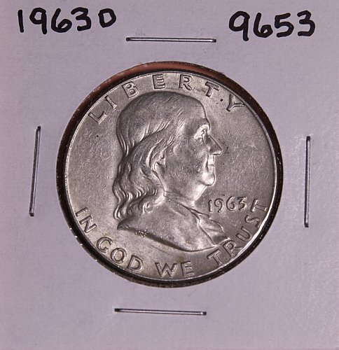1963 D FRANKLIN SILVER HALF DOLLAR 9653 AU