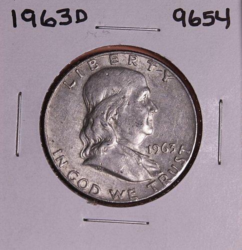 1963 D FRANKLIN SILVER HALF DOLLAR 9654  EF