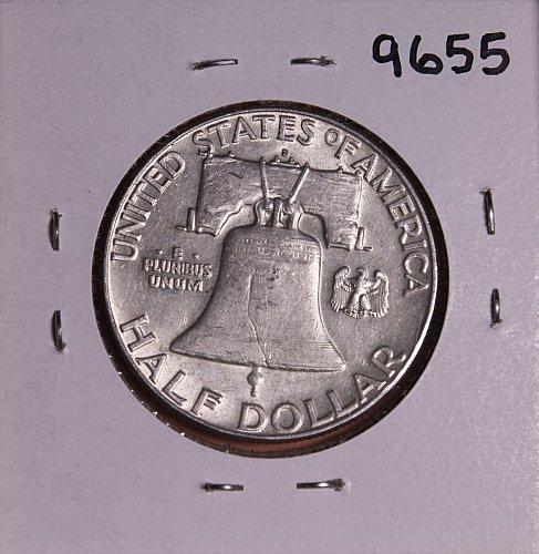 1963 D FRANKLIN SILVER HALF DOLLAR 9655 AU