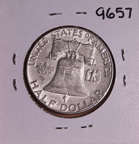 1963 D FRANKLIN SILVER HALF DOLLAR #9657 AU AND FREE SHIPPING !!