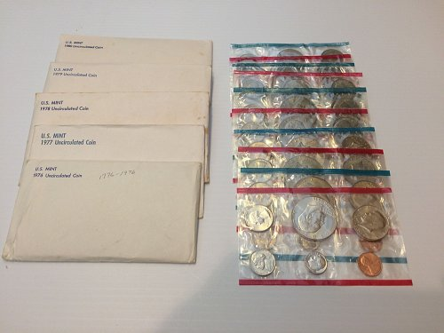 BARGAIN - NOT ONE BUT TWO SETS EACH OF 1976-1980 P AND D UNCIRCULATED MINT SETS