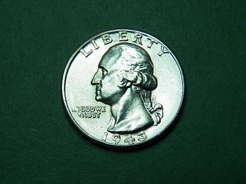 1943 P Washington Quarter Gem Uncirculated Coin   i45