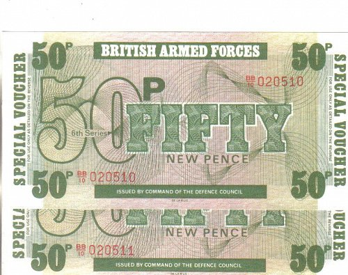 BRITISH ARMED FORCES  CANTEEN VOUCHER'S  --  50 NEW PENCE